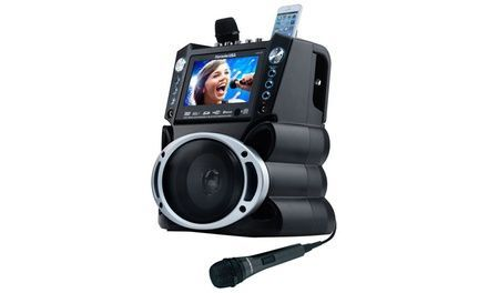 "Karaoke USA GF840 Portable Speaker Entertainment System w/ Two Mic #bluetoothtechnology Featuring a 7"" color screen and 2 microphones with individual volume control, this karaoke machine uses Bluetooth technology to stream music #bluetoothtechnology"