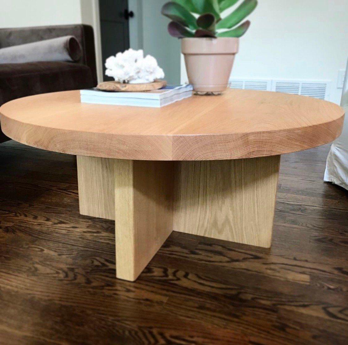 30 Inch Round Coffee Table In 2020 White Oak Coffee Table Oak