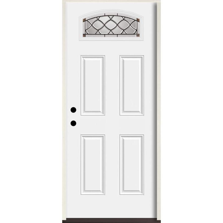 Reliabilt Sheldon 1 4 Lite Decorative Glass Right Hand Inswing Fiberglass Prehung Entry Door With Insulating Core Reliabilt Entry Doors Glass Decor
