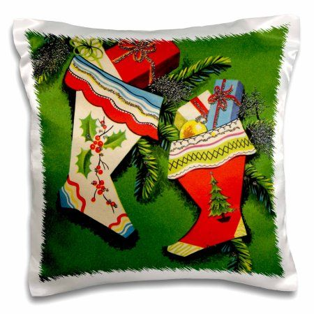 3dRose Retro Christmas Stockings, Pillow Case, 16 by 16-inch