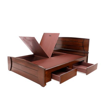 Tulip Style Spa Design Queen Bed With Drawer Storage Wenge,Queen