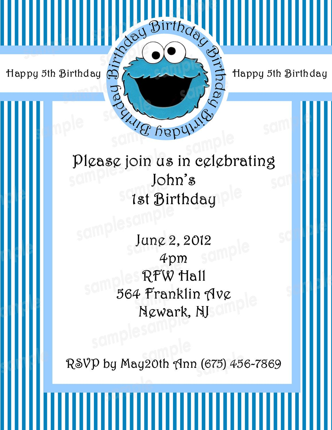 cookie monster invitation - announcement PDF - DIY - Customized ...