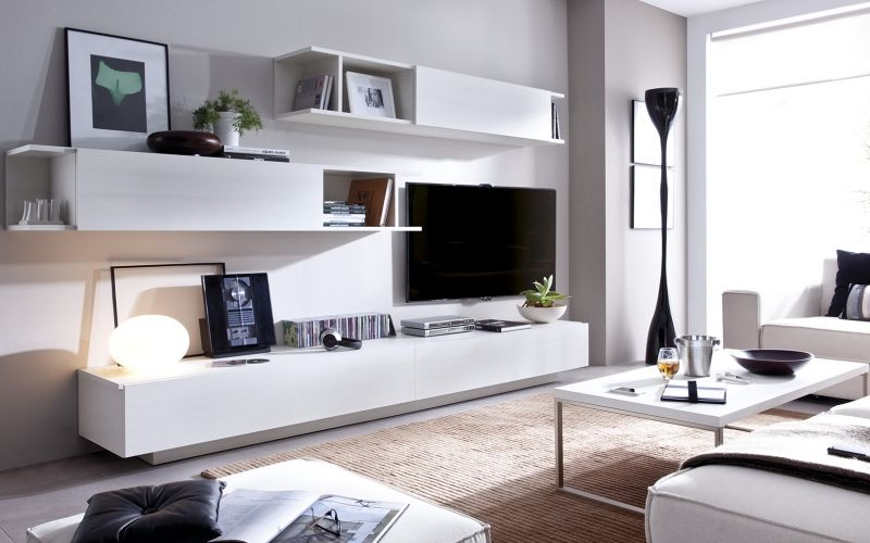 Zona living blanco total en el sal n comedor zona for Muebles comedor modulares