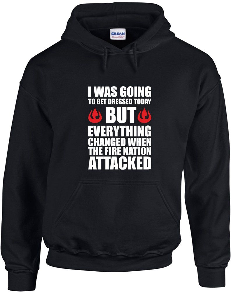 63f5dde2 The Fire Nation Attacked, Printed Hoodie - Black/White/Red M | Video ...