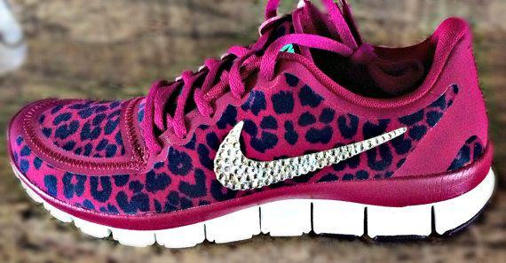 Nike Free 5.0 v4 with Swarovski crystal details Pink Purple cheetah on  Etsy 0209c8e87c6d
