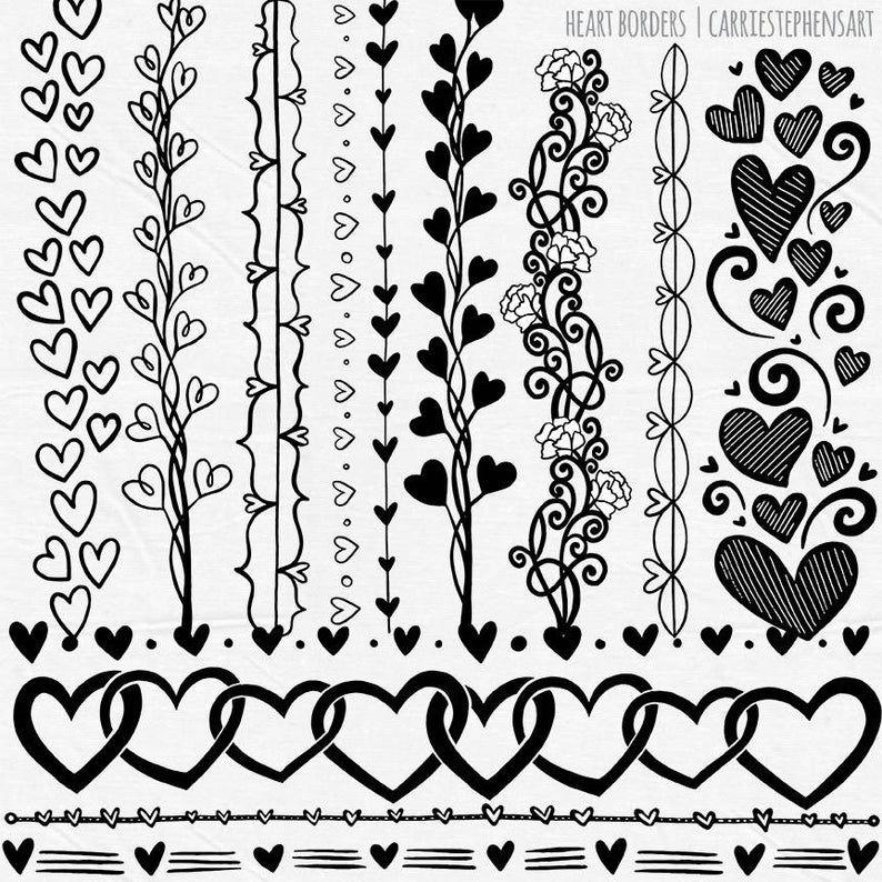 Line Heart Border Clipart Heart Digital Stamps Printable Border Png Valentine Heart Graphic Download Line Art Doodle Collage Stencil Clip Art Borders Heart Border Printable Border