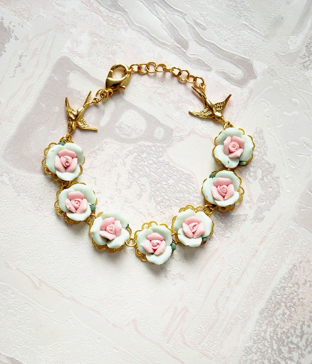 Pastel Powder Mint Pink Bracelet - Roses bracelet - Shabby chic  delicate and romantic bracelet - poetry of flowers - europe. CHF50,00, via Etsy.