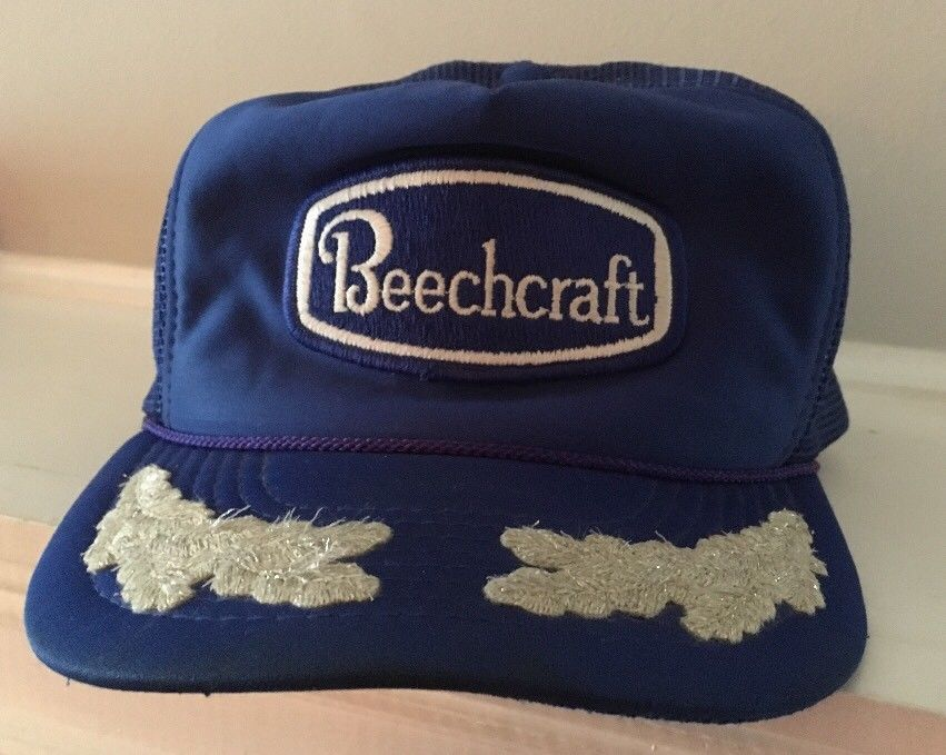 0913fa61f950e Vintage BEECHCRAFT AVIATION Blue Mesh Trucker Hat Scrambled Eggs Well Worn