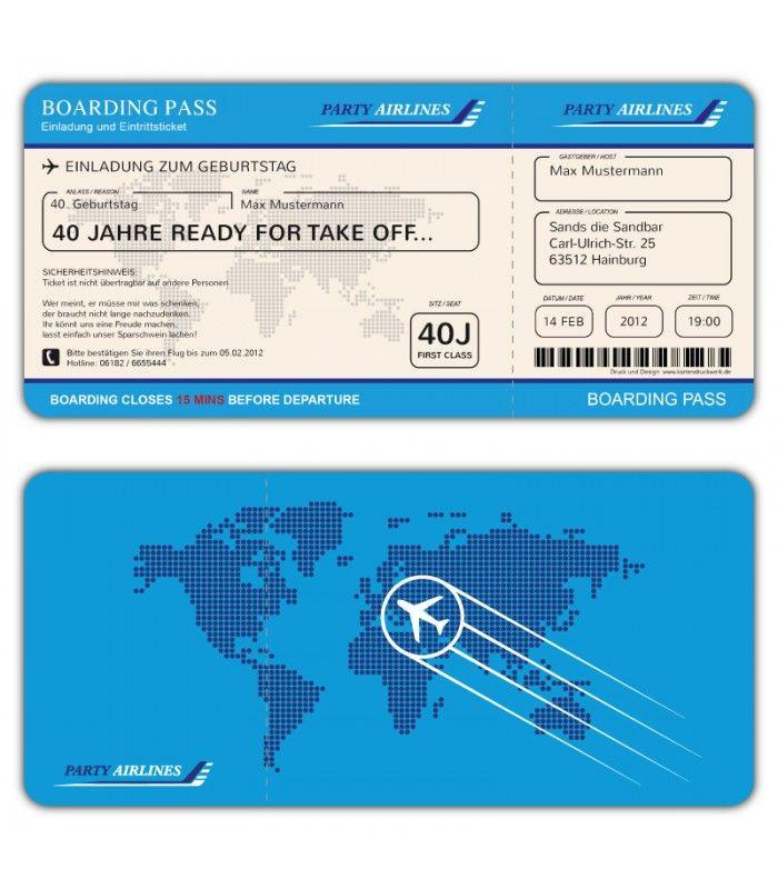Einladungskarten Flugticket Geburtstag Ticket Einladung Karte Boarding Pass Blau Einladungen Ticket Vorlage Einladungskarten