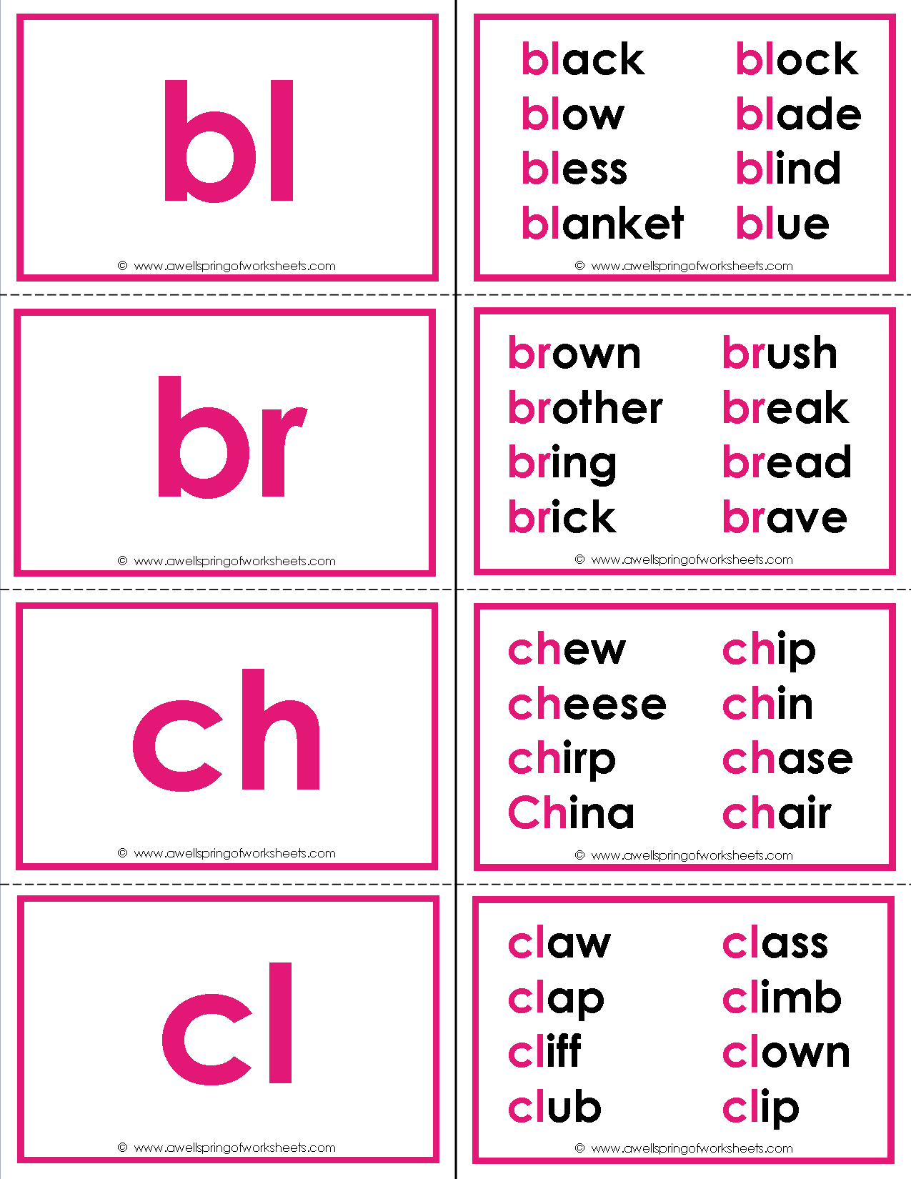 Beginning Consonant Blends Flash Cards with a special bonus! These flash cards have up to 8 words that start with each blend for extra practice. Use as flash cards or a memory game.