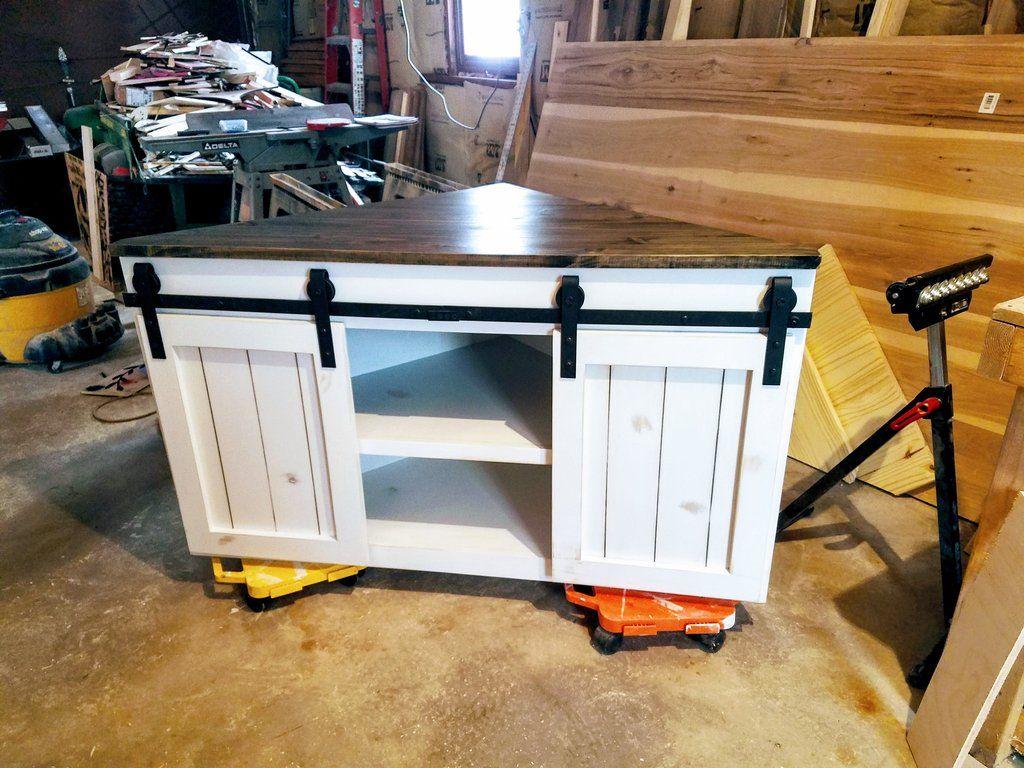 Sliding Barn Door Corner Tv Stand / Farmhouse