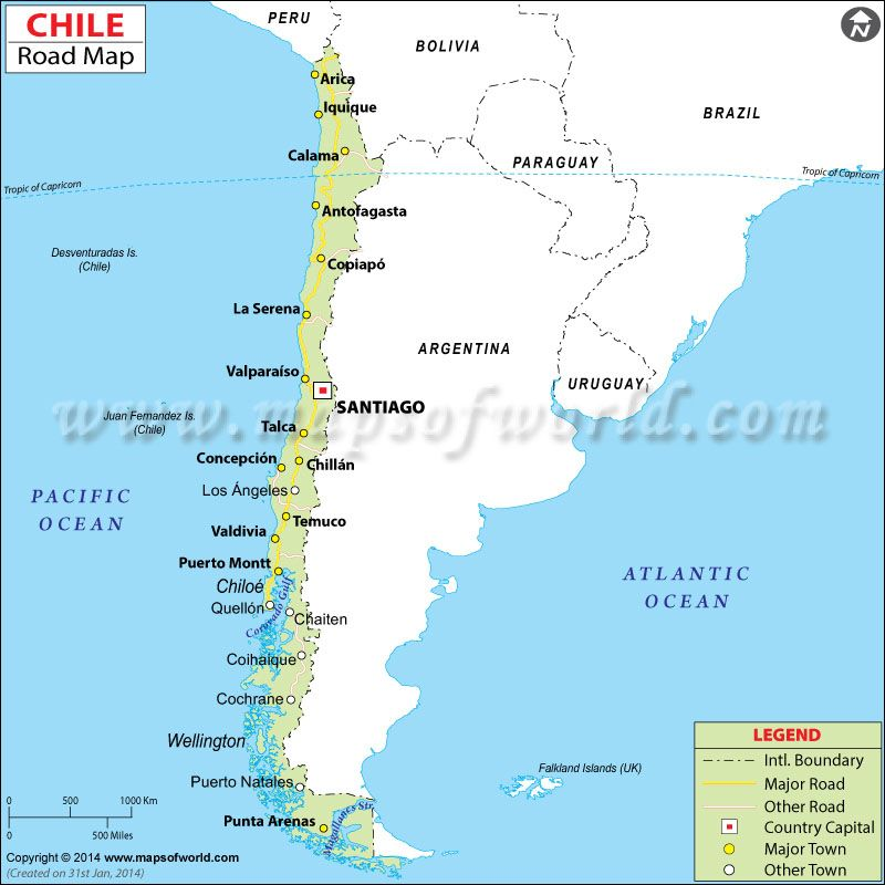Chile Road Map Maps Pinterest Latin america and City