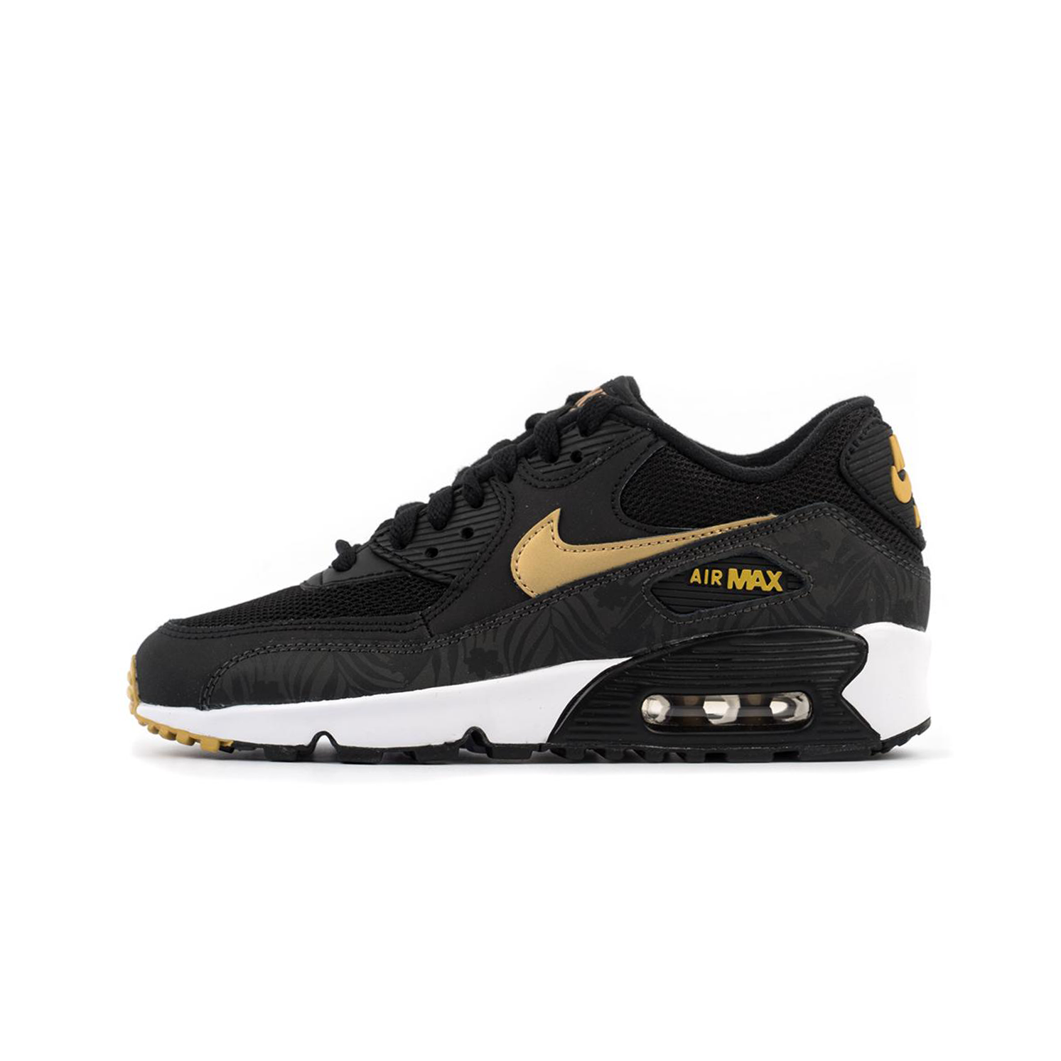 NIKE BIG KIDS AIR MAX 90 PRINT MESH BLACKGOLDWHITE