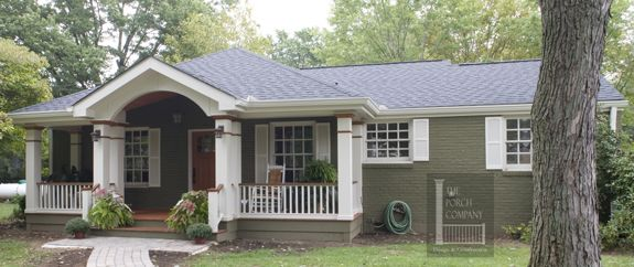 Before and after ranch front porch nest pinterest for Hip roof front porch addition