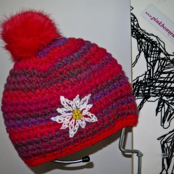 Urtyp Knollhuber pink bommel rosa rot edelweiss  handmade crochet beanie pinkbommelKunstfellbommel