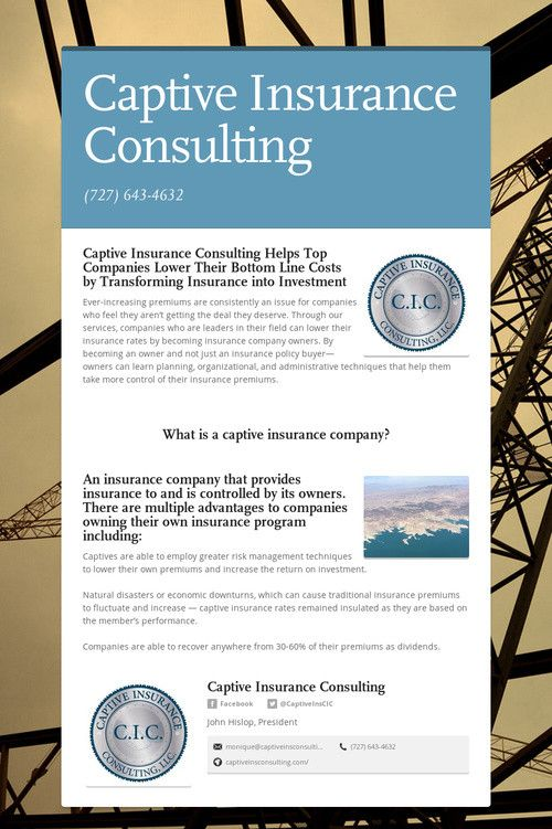 Captive Insurance Consulting Investing Insurance Insurance Benefits