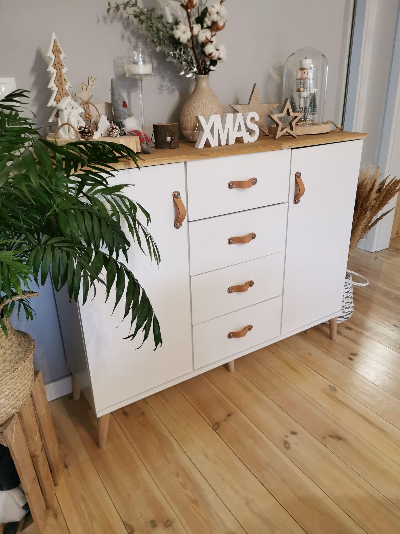Komoda Biala Drewno Uchwyty Skorzane Ikea Decor Home Decor Furniture