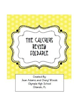 Calculus: Review Foldable | AP Calculus | Calculus, Teaching math