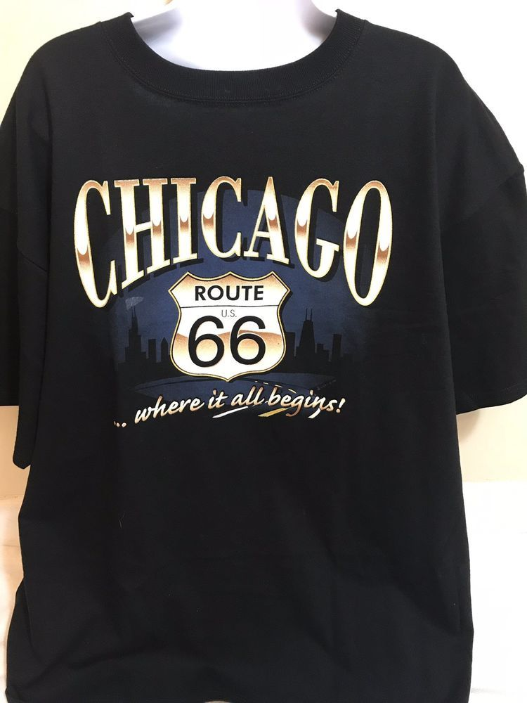 Route 66 Chicago Mens T Shirt Size 2x Black With Classic Route 66