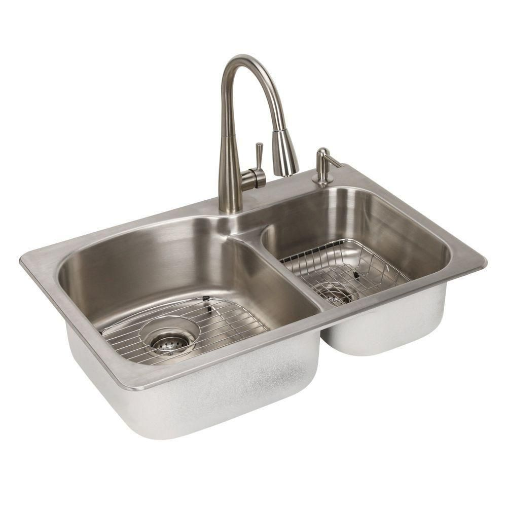 Glacier Bay Allinone Dual Mount Stainless Steel 33 In2Hole Fair Stainless Kitchen Sinks 2018