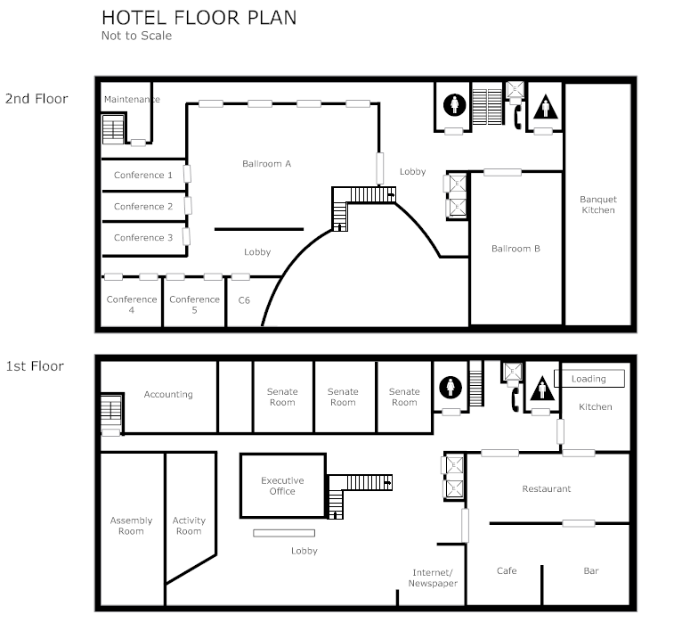 Create Floor Plan Examples Like This One Called Hotel Floor Plan From  Professionally Designed Floor Plan Templates. Simply Add Walls, Windows,  Doors, ...