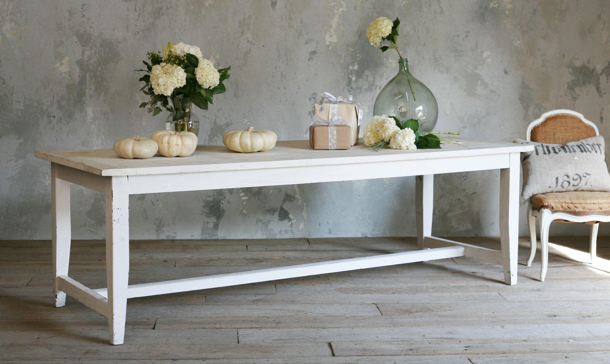 Long white slightly distress simple farm table table pinterest