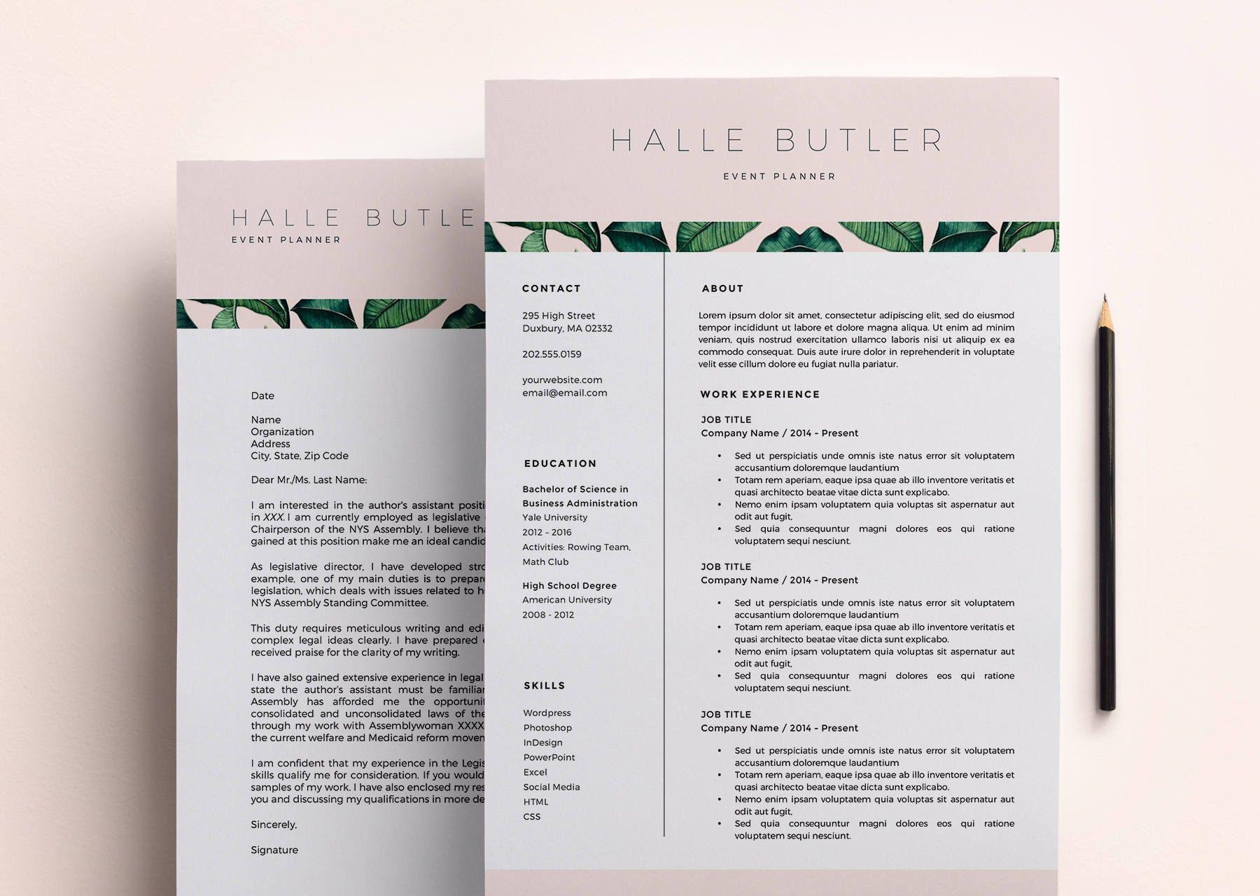 Resume Template Cover Letter Modern Resume Design Cv Template