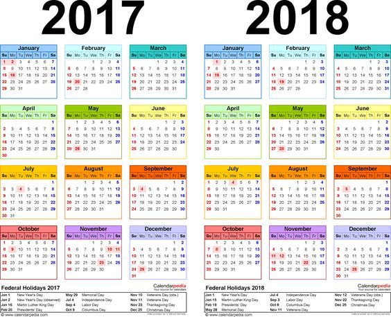 2017 2018 calendar free printable two year pdf calendars free