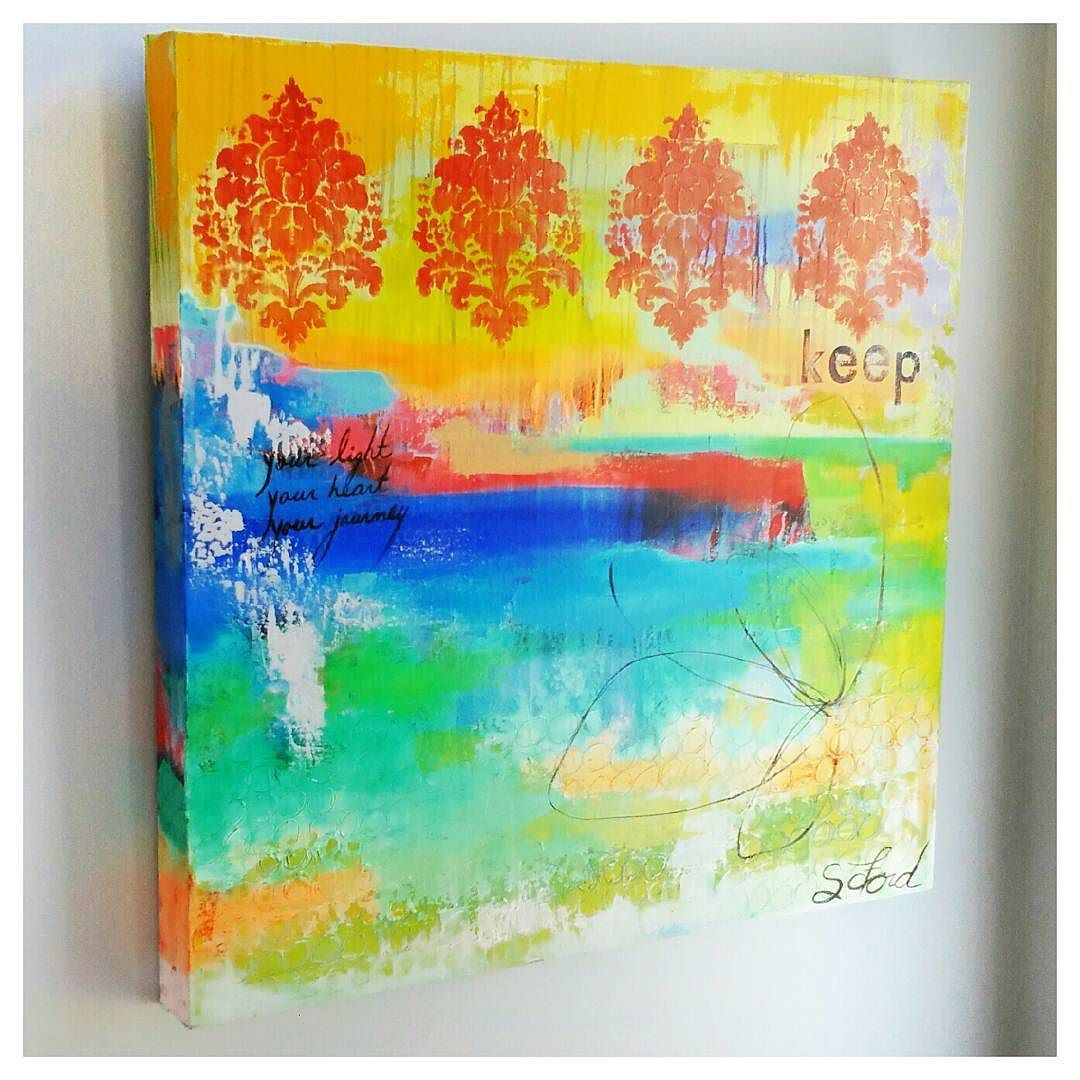"""""""Keep"""" 30 x 30 oil painting on canvas. This jas always been one of my favorite paintings. The colors glow making me think of water and light. The textures are thick reminding me of each mark I made. #tbt     This piece is available for purchase on my website. http://ift.tt/1IL7U45"""