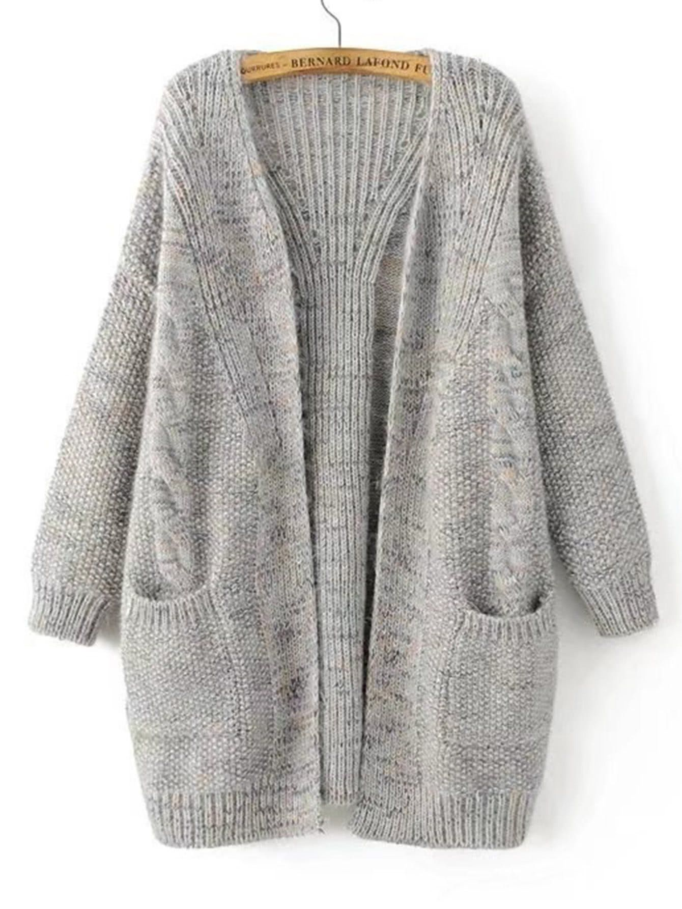 ef30852433ce Grey Open Front Two Pocket Cable Knit Cardigan