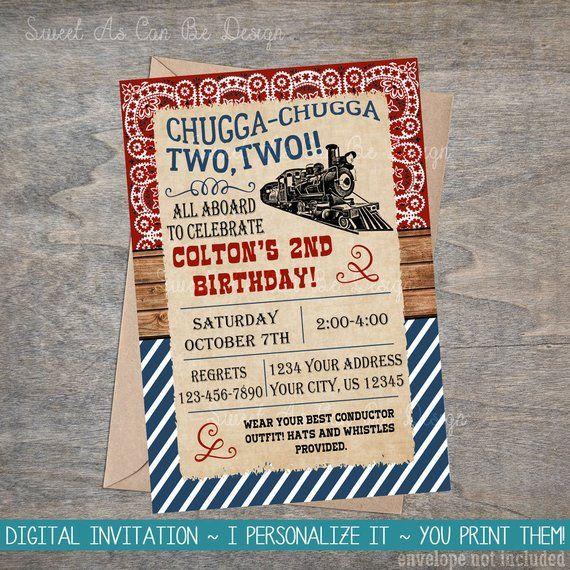 Vintage Train Birthday Printable Invitation