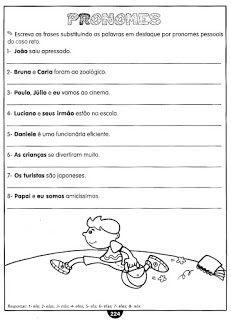 Pronome Atividades Gramatica Exercicios Para Imprimir Com Imagens