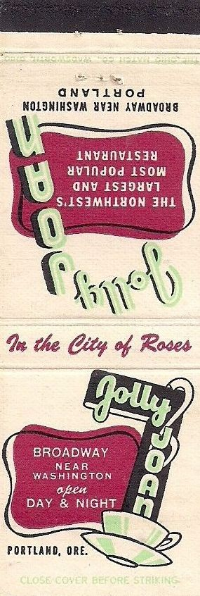 489 Jolly Joan Restaurant Portland Or With Images Matchbook