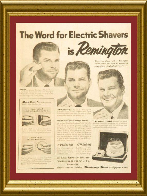 Vintage Shaving Ad 1954 Remington Electric by DustyDiggerLise ...