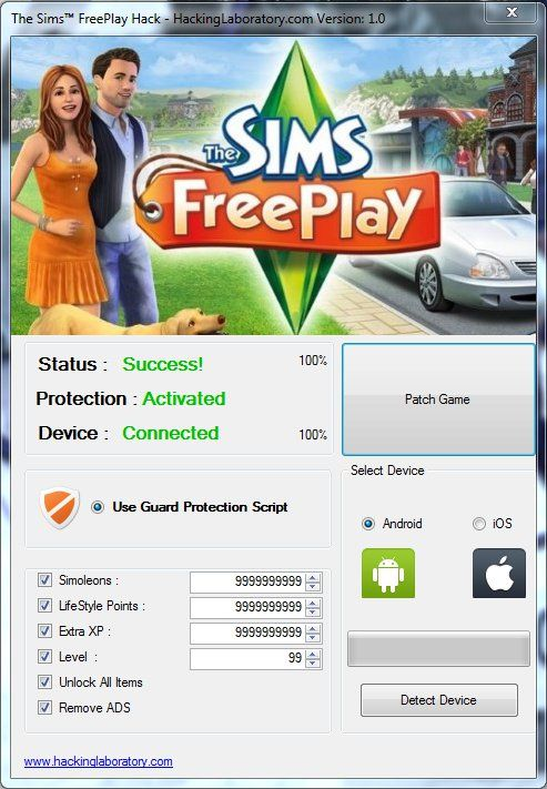 code triche sims free play android