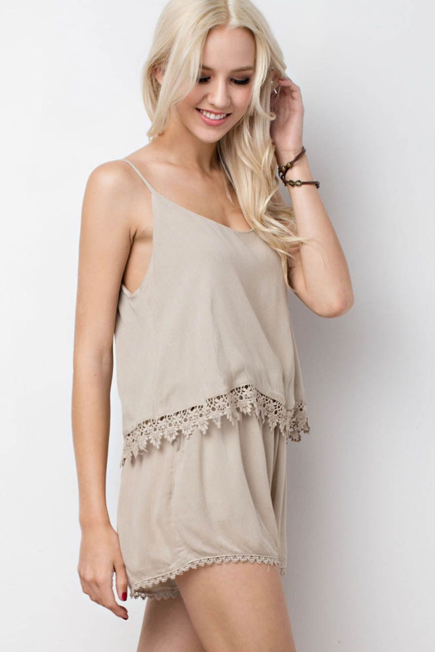 Lace Trimmed Layered Romper