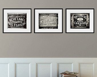 Kitchen Decor Set of 3 Rustic Prints, Kitchen Art Set of 3, Black ...