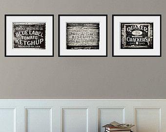 Kitchen Decor Set Of 3 Rustic Prints Art Black And