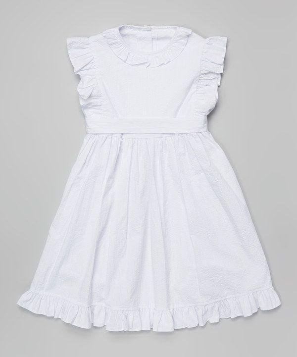 Loving this Travelin' Trunk White Ruffle Addison Dress - Infant, Toddler & Girls on #zulily! #zulilyfinds