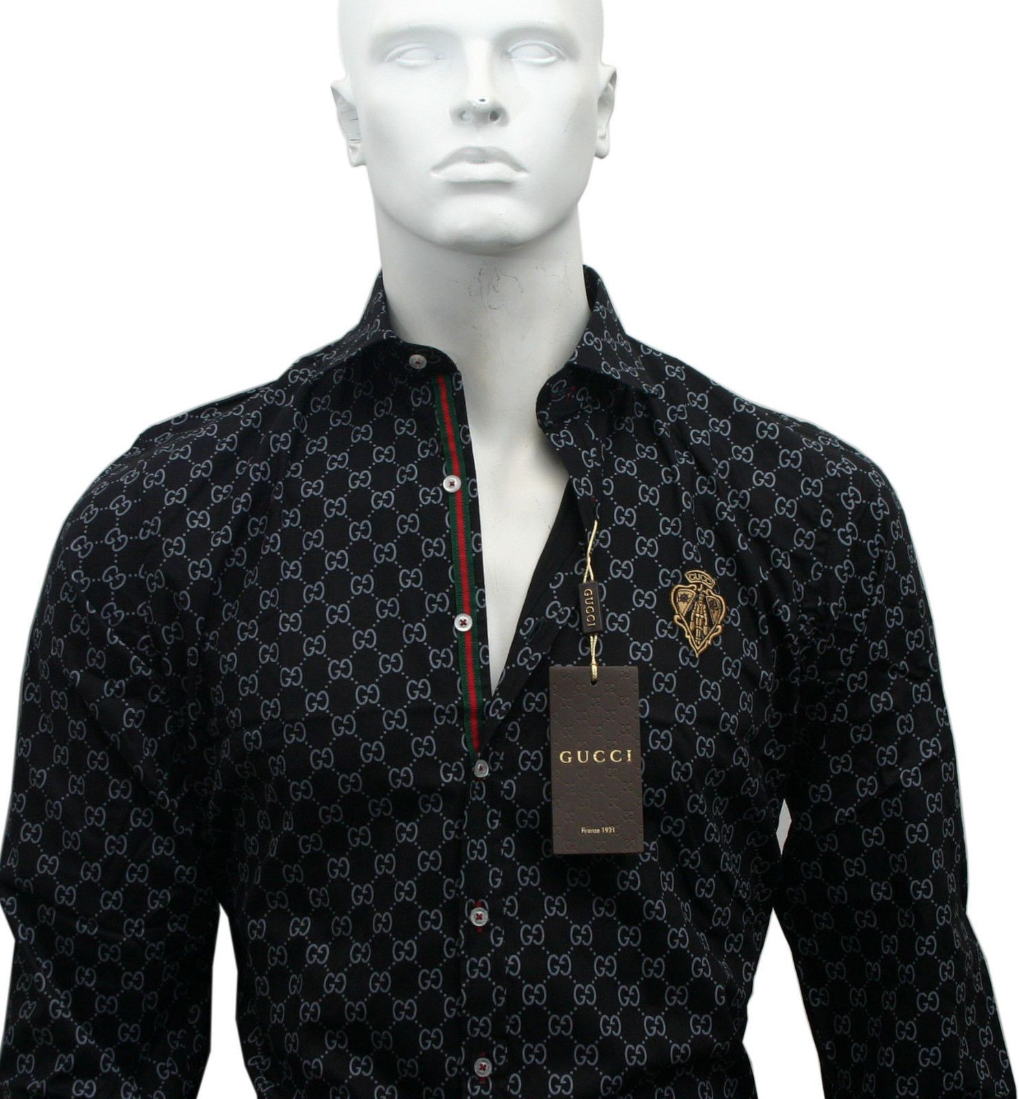 569397e7c38 Black Color New GUCCI Long Sleeve Cotton Dress Shirt For Men's Size M.L.XL