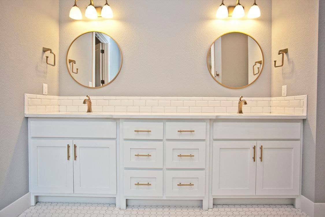 Master bath with beveled white subway tile backsplash, white quartz ...