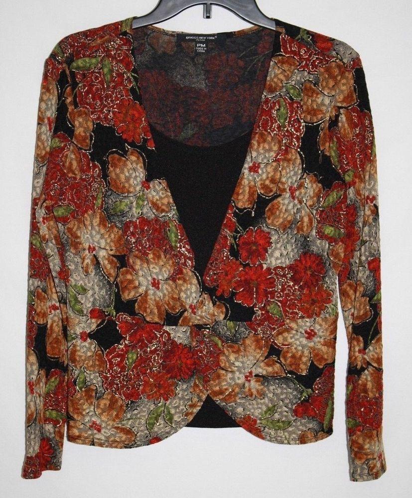 Briggs New York Petite MEDIUM PM Pullover Top Fall Floral