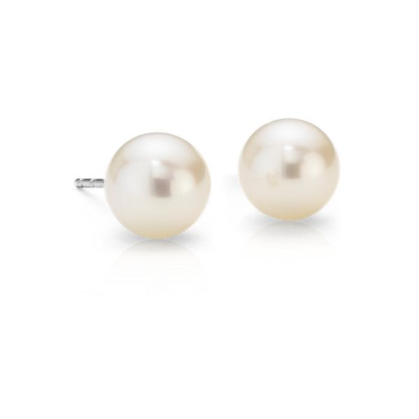 Blue Nile Freshwater Cultured Pearl Stud Earrings ($80) ❤ liked on Polyvore featuring jewelry, earrings, pearl, cultured pearl stud earrings, white earrings, 14k earrings, white stud earrings and white jewelry