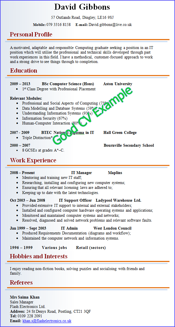 Good And Bad | Good resume examples, Job resume samples, Good cv