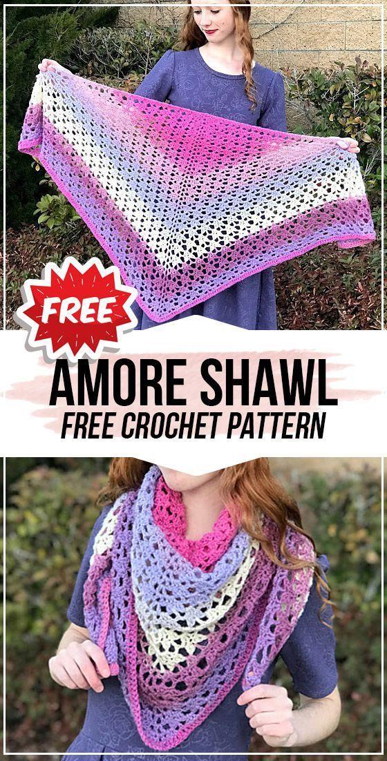 crochet Amore Shawl free pattern - crochet shawl pattern