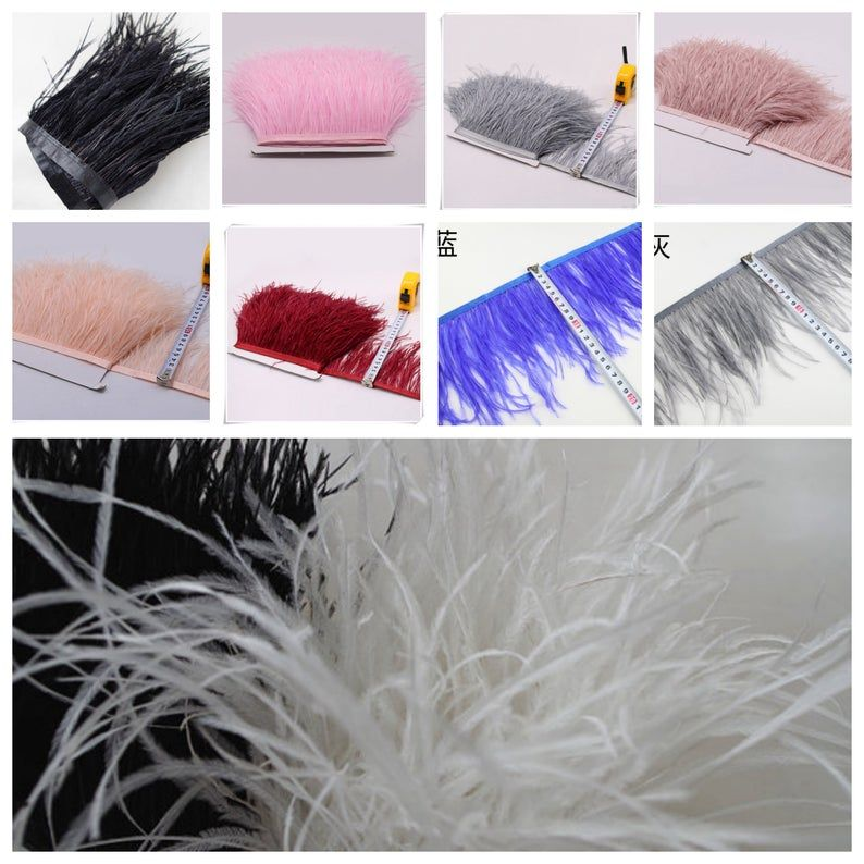 Ostrich Feather Trimming Fringe with Satin Ribbon Tape, Millinery Crafts Costumes Decoration, natural Ostrich hair feather trimming by yard