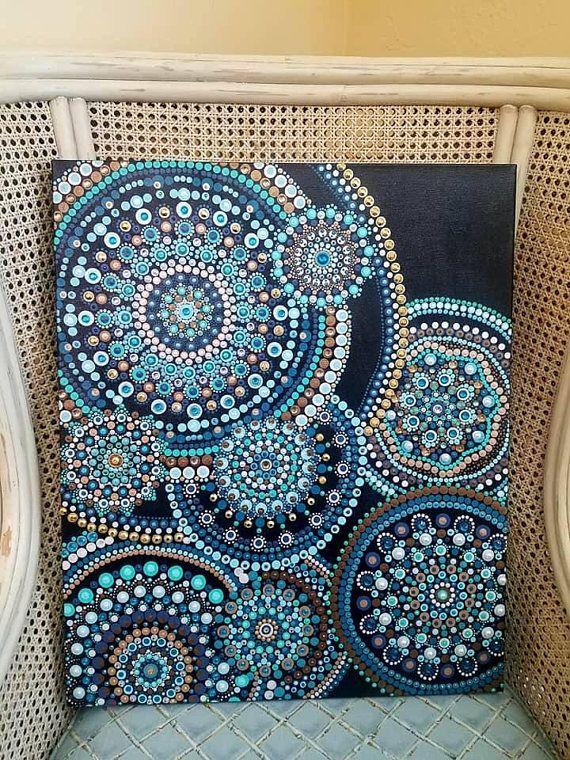 Ripple hand painted dot mandala painting on boxed canvas mandala malerei malen y punktmalerei - Geometrische wandbilder ...
