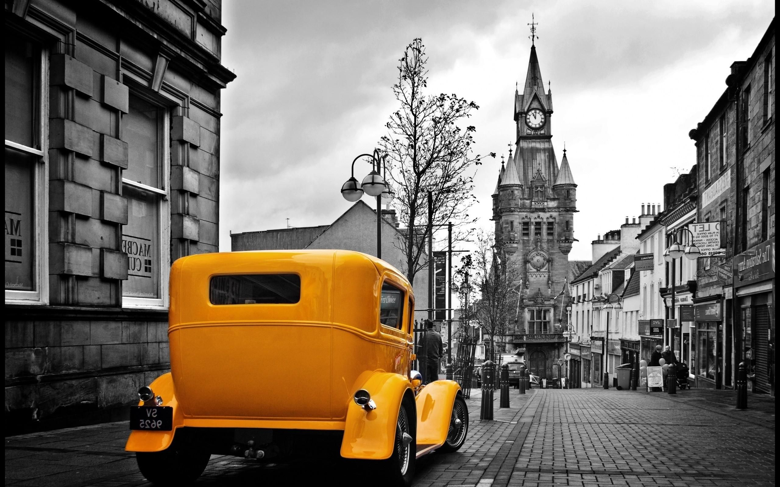 Vintage Yellow Car In A Gray City Wallpapers Hd Desktop And