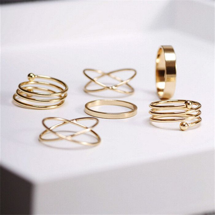 6 Piece Midi Ring Set | Gold rings, Finger and Ring