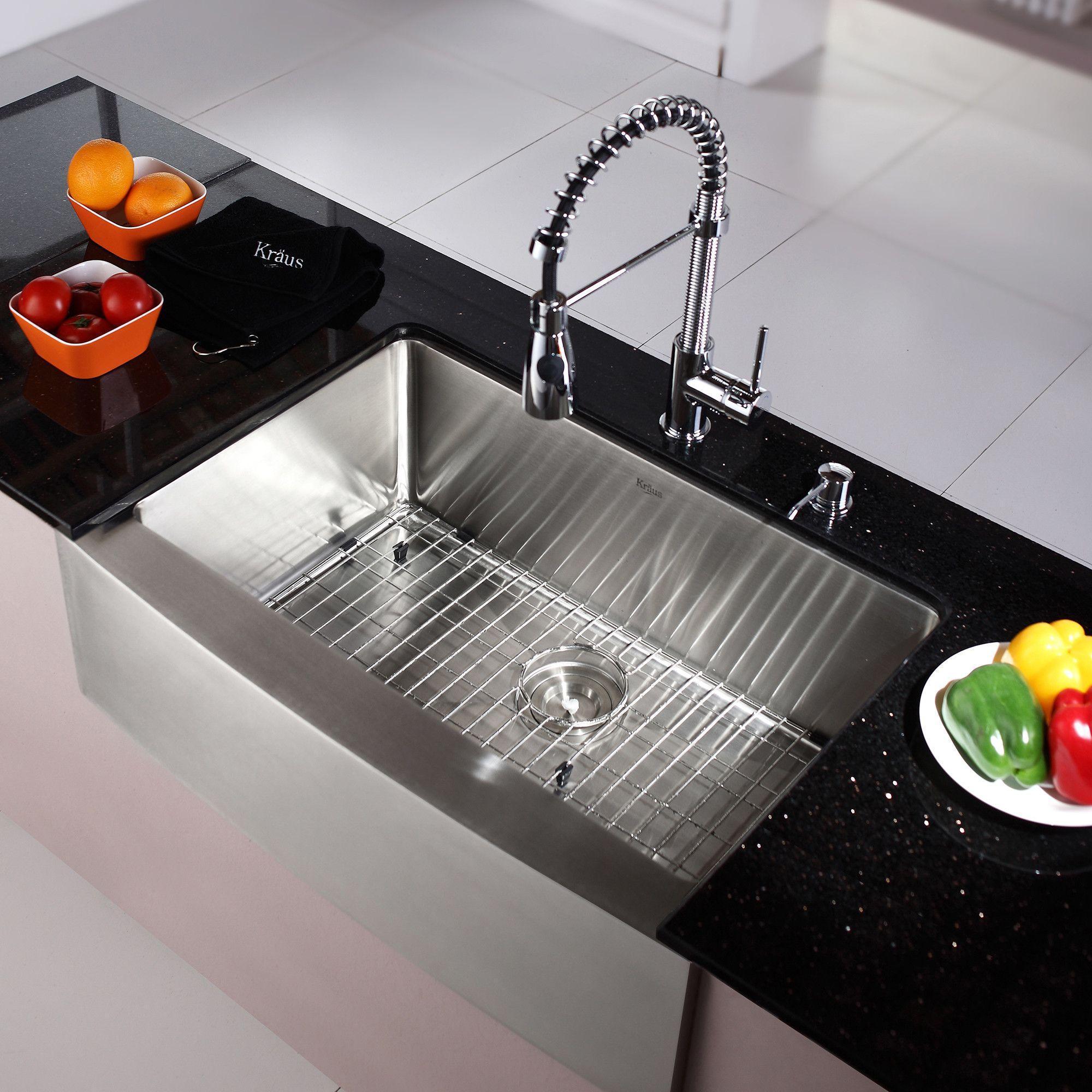 Kraus Kraus 30 Farmhouse Stainless Steel 29 75 X 20 Kitchen Sink With Faucet And Farmhouse Apron Kitchen Sinks Galley Kitchen Remodel Kitchen Remodel Layout